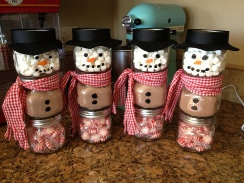 How to upcycle baby food jars into snowmen!