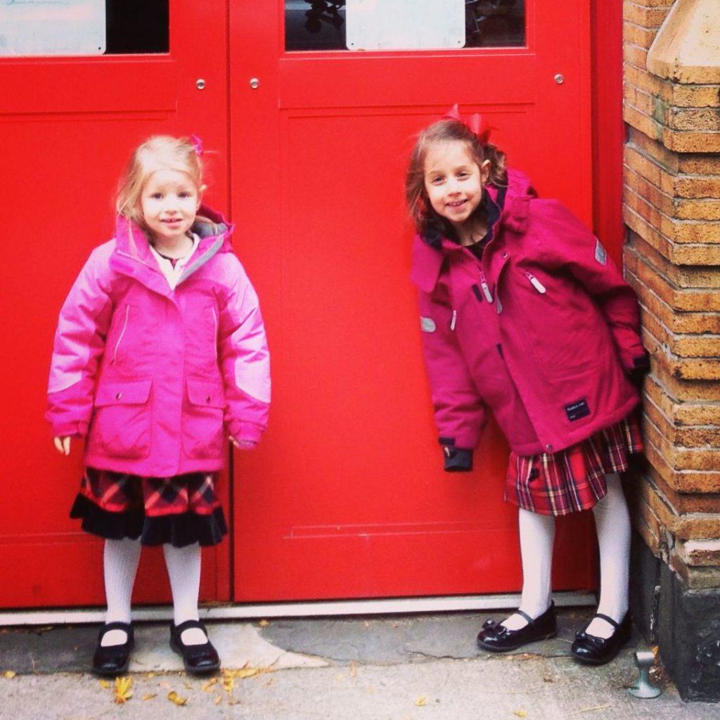 Girls in warm coats