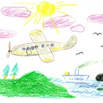 plane ship drawing