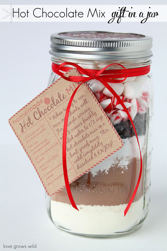 hot chocolate mix gift in a jar
