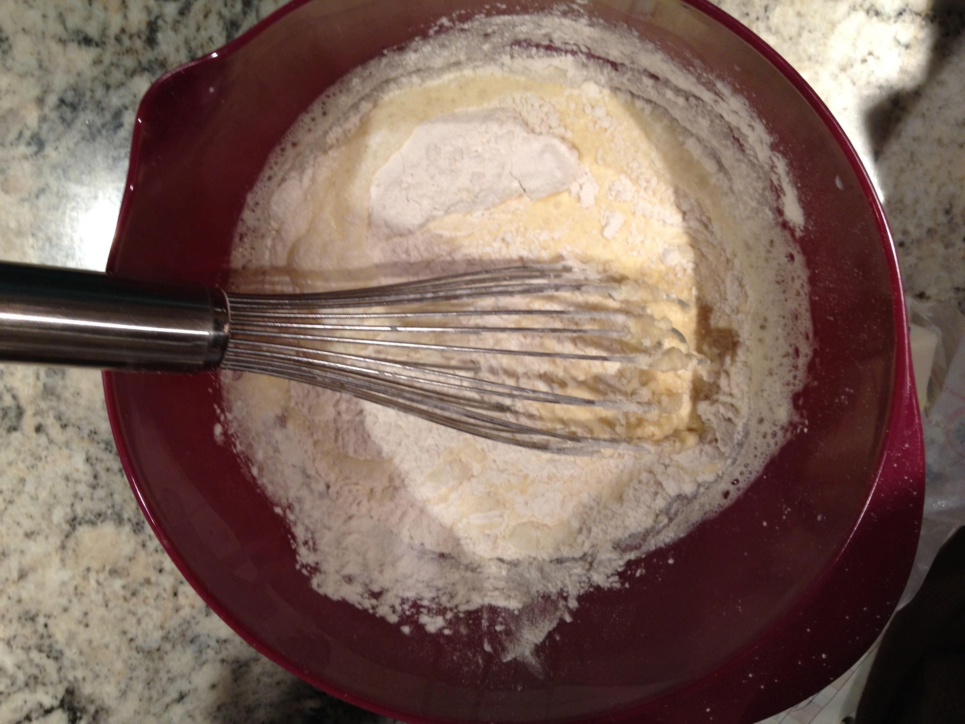 Swedish pancakes -- flour being added