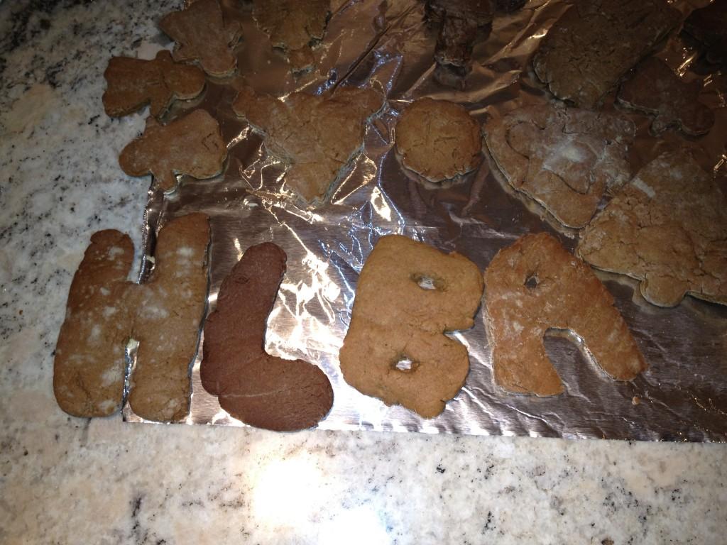 Gingerbread cookies -- initials