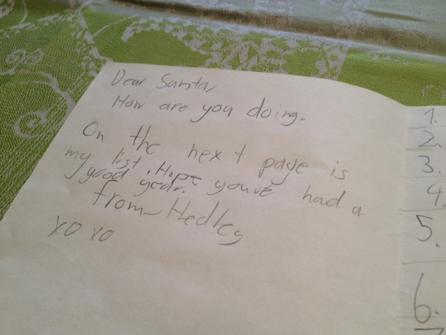 A letter to Santa Claus.