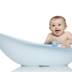 newborn in a bath