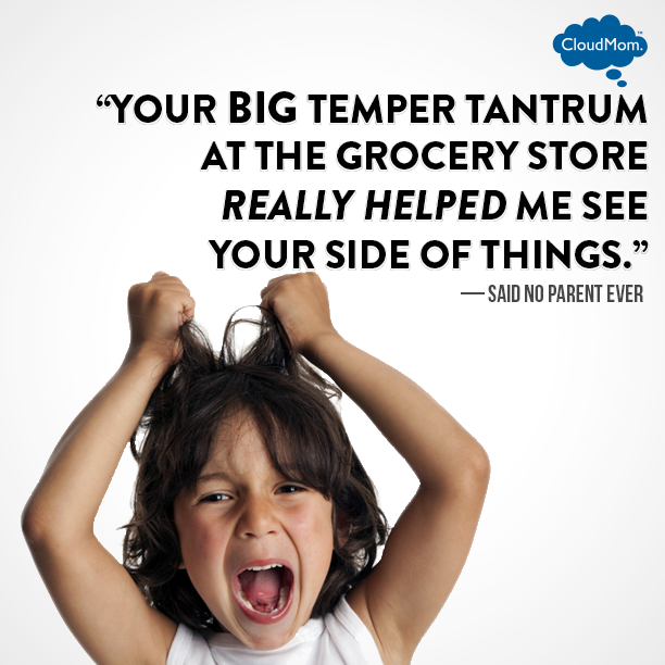 Your big temper tantrum at the grocery store really helped me see your side of things. - Said no parent ever