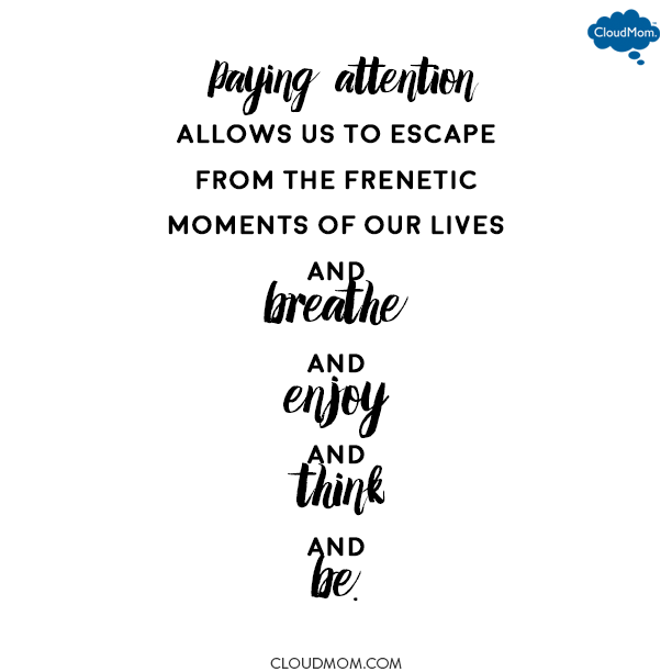 Paying attention allows us to escape from the frenetic moments of our lives and breathe and enjoy and think and be. | CloudMom
