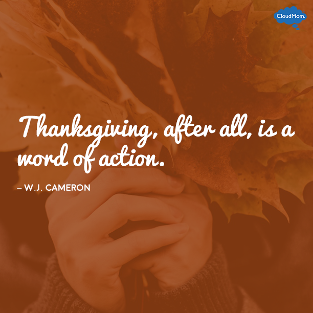 """Thanksgiving, after all, is a word of action."" - W.J. Cameron"