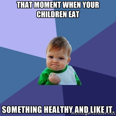 That moment when your children eat something healthy and like it.