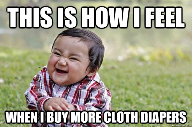 This is how I feel when I buy more cloth diapers.