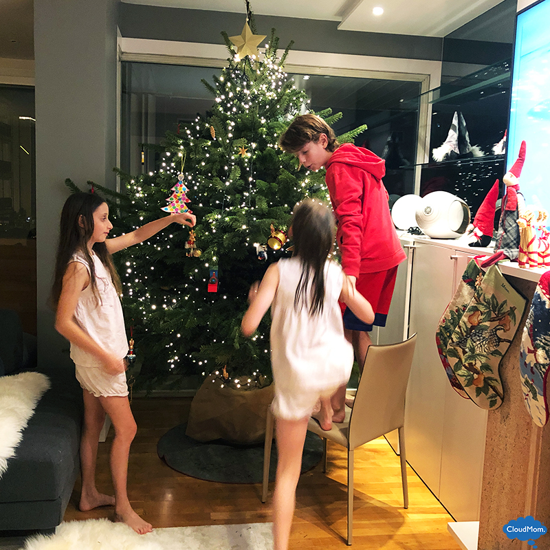 decorating the christmas tree with kids