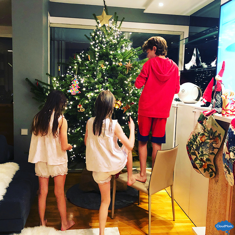 decorating the tree as a family
