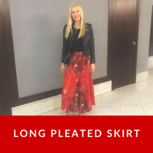 What do you wear with a long pleated skirt?
