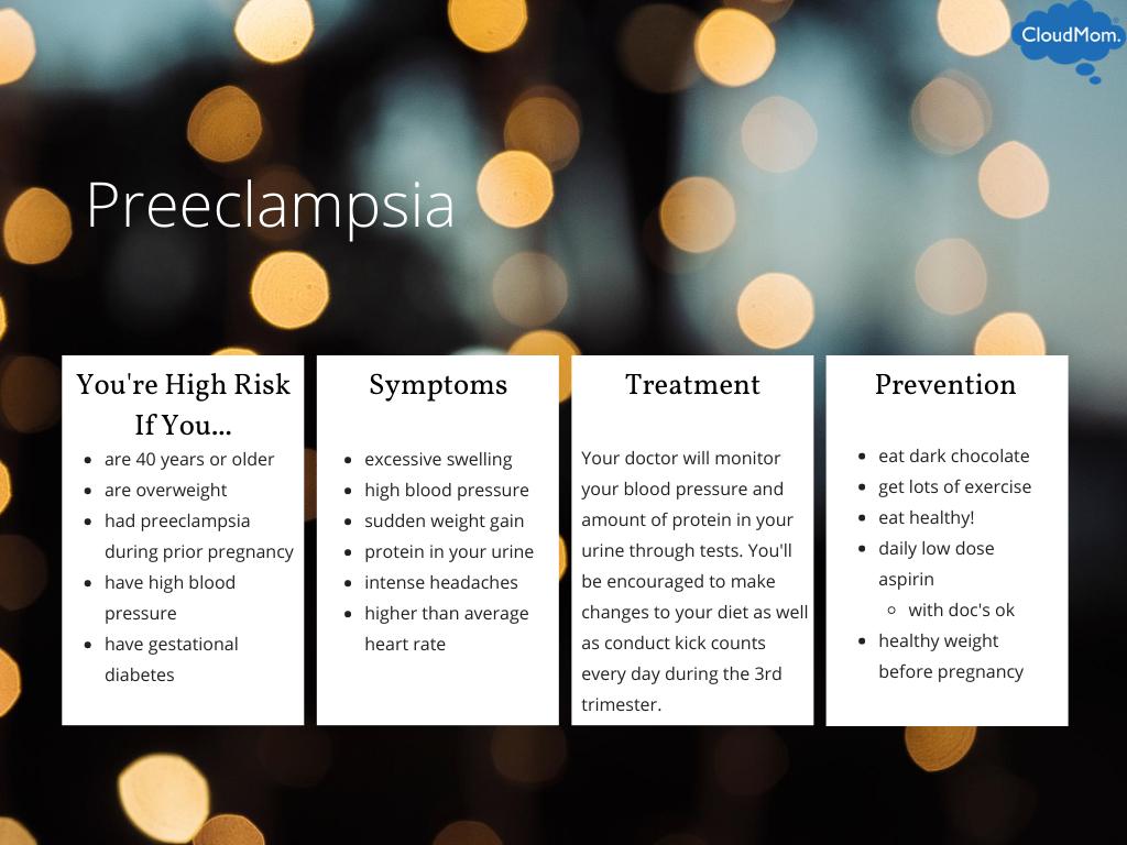 risk factors for preeclampsia, preeclampsia screening, treatment, and prevention measures