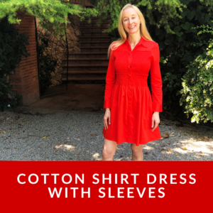 Cotton Shirt Dress with Sleeves