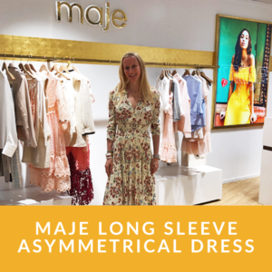 Maje Long Sleeve Asymmetrical Dress