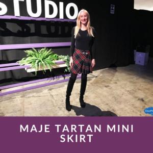 Maje Tartan Mini Skirt